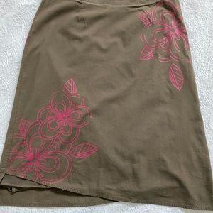 Lole Brown Skirt w Fuschia Flower Print Size 4
